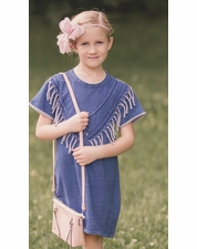 MaeLi Rose Blue Fringe Soft Cotton Dress