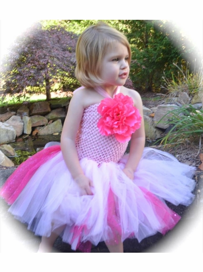 MaeLi Rose Gorgeous Pink Tulle Halter Neck Dress w/Removable Daisy Hairclip/Pin *FINAL SALE*