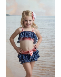 "Muddy Feet ""Anchors Away"" Flapper Two Piece Bikini"