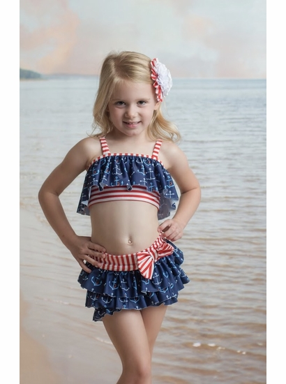 Muddy Feet Anchors Away Flapper Two Piece Swim Suit