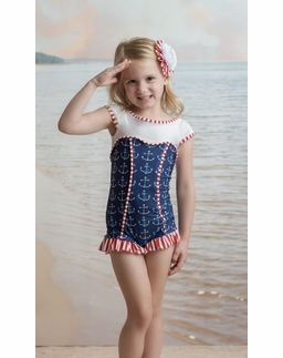 "Muddy Feet ""Anchors Away"" Sweetheart Short Sleeve Swimsuit"
