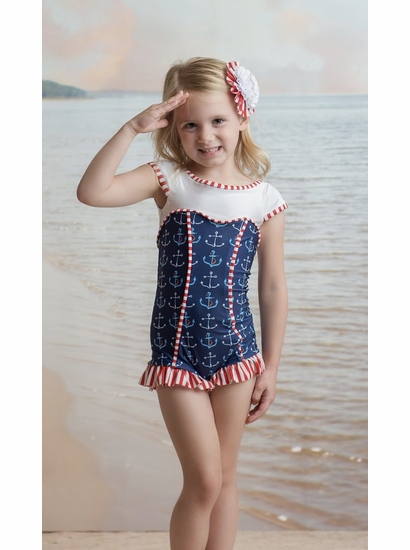 """Muddy Feet """"Anchors Away"""" Sweetheart Short Sleeve Swimsuit SOLD OUT"""