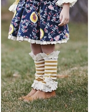 Mustard Pie Jeweled Forest Gold Stripe Lola Socks OUT OF STOCK