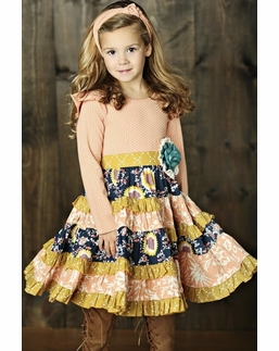 "Mustard Pie Jeweled Forest Fall Floral ""Mckenna"" Dress"