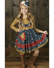 Mustard Pie Woodland Magic Charli Gold & Navy Fall Dress OUT OF STOCK