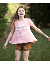 "PPLA Coral ""Music Dreams"" A-Line Tee"