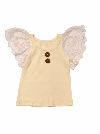 "Sado ""Love Always"" Ivory Knit Fluttery Top *FINAL SALE! SIZE 18m"