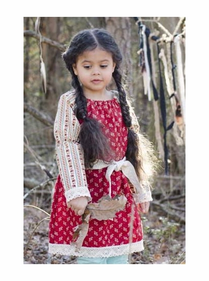 "Sado ""Old Time Heirloom"" Red Peasant Dress *FINAL SALE BLOW OUT*"