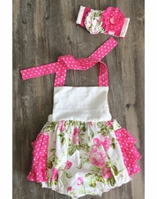 Serendipity Wild Rose Baby Bubble ROMPER & Matching Head Band OUT OF STOCK