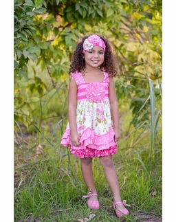 Serendipity Wild Rose Swing Top & Stripe Icings WITH Head Band  FINAL FEW