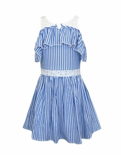 Truly Me Blue and White Ruffle Fit & Flare Dress SIZE 14