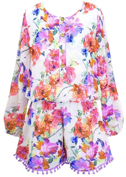 d33b29f590f0 Truly Me Floral Romper w Long Sleeves   Purple Pom Pom Trim  SOLD OUT