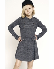 Truly Me Gray Knit Military Skater Dress