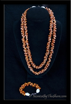 Antique Burnt Orange Shell Lei Necklace & Bracelet with Cowrie Shells