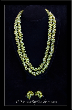 Antique Chartreuse Green Shell Lei Necklace & Crescent Shaped Clip Earrings Set