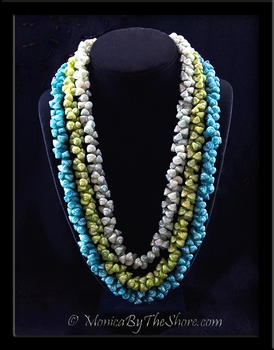 Antique Aqua, Light Green & Teal 3 Strand Shell Lei Necklace