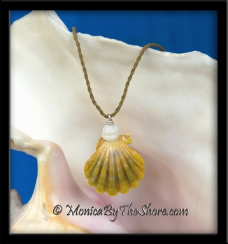 "Avocado Cream Hawaiian Sunrise Shell & Puka Shells ""Country Style"" Necklace"