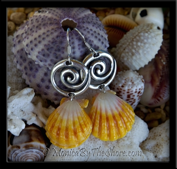 Bali Waves & Bright Hawaiian Sunrise Shell Silver Earrings