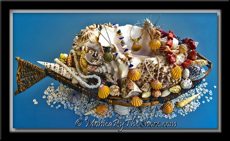Basket Full of Beautiful Sunrise Shells and Seashells from Hawaii