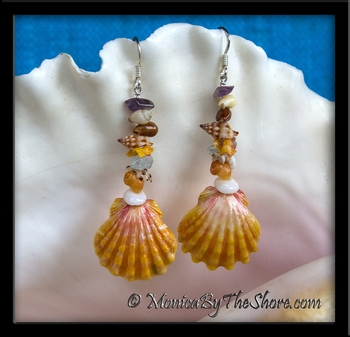 Beach Candy Classic Colored Hawaiian Sunrise Shell Earrings