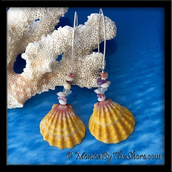 """Beach Candy"" Extra Large Sunrise Shell, Seashells & Gemstone Long Wire Earrings"