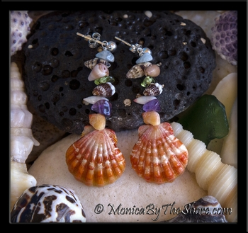 Beach Candy Hawaiian Sunrise Shell, Gemstone & Seashell Post Earrings