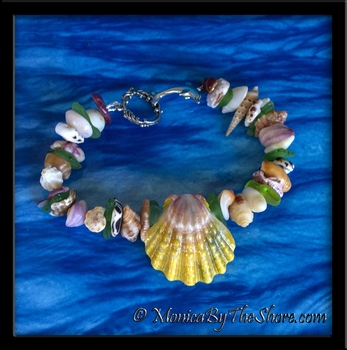 """Beach Candy"" Hawaiian Sunrise Shell, Seaglass and Seashell Bracelet"