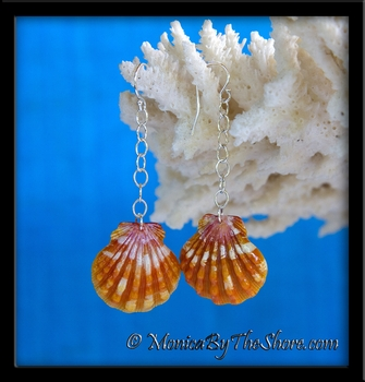 Bright Orange and Pink Hawaiian Sunrise Shell Chain Link Dangle Earrings