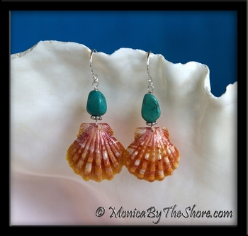 Bright Orange Sunrise Shell & Turquoise Chunks Silver Earrings