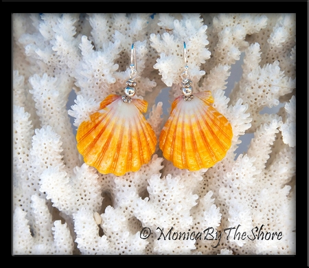 Bright Yellow and White Sunrise Shell Silver Earrings
