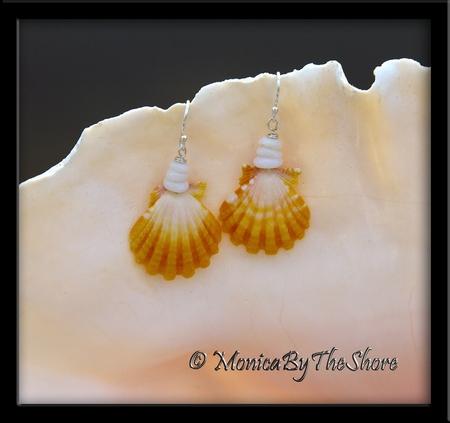 Bright Yellow & White Hawaiian Sunrise Shell & Puka Shells Earrings