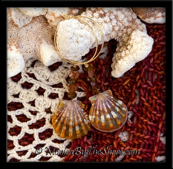 Burnt Orange Hawaiian Sunrise Shells with Fire Opal and Amber Stones Gold Hoop Earrings