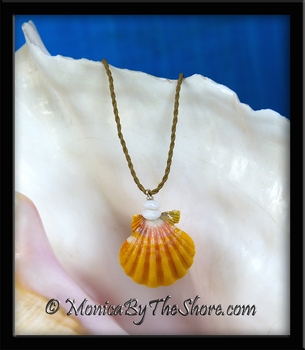 "Classic Pink & Yellow Hawaiian Sunrise Shell & Puka Shells ""Country Style"" Necklace"