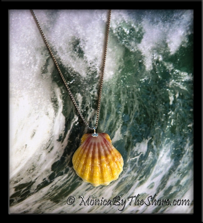 Classic Pink & Yellow Hawaiian Sunrise Shell Sterling Silver Necklace