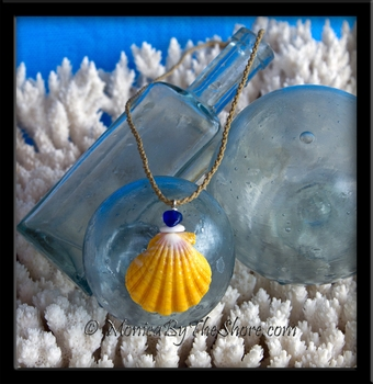 Cobalt Blue Seaglass, Puka Shell & Classic Hawaiian Sunrise Shell Corded Necklace