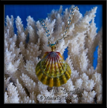 "Colorful Extra Large ""Moonrise"" Sunrise Shell Gold Pendant Necklace"