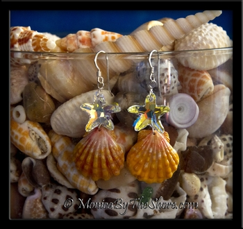 Crystal Starfish & Hawaiian Sunrise Shell Earrings