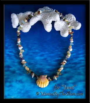 "Custom ""Beach Candy"" Sunrise Shell, Gemstone & Seashell Necklace for Janet"
