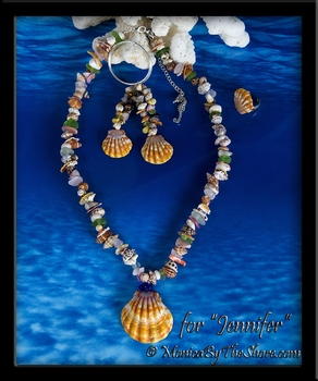 "Custom ""Beach Candy"" Sunrise Shell Sea Glass Seashells Necklace Earrings Ring Set for Jennifer"