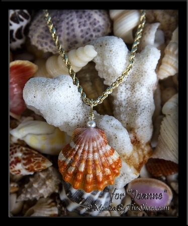 Custom Deep Orange and White Hawaiian Sunrise Shell with Pearl and Swarovski Crystal