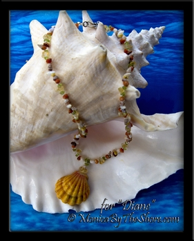 "Custom for ""Diane"" Hawaiian Sunrise Shell, Seashells & Gemstone Necklace"