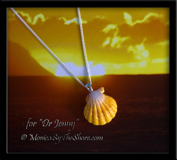 "Custom for ""Jenny"" Bright Yellow & White Hawaiian Sunrise Shell Silver Necklace"