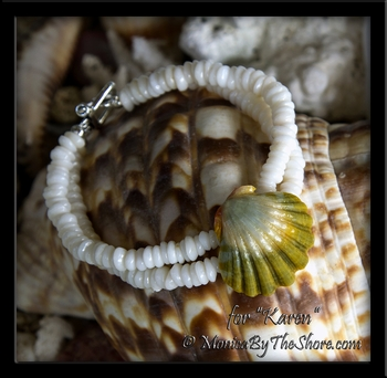 "Custom for ""Karen"" Double Puka Shell Moonrise Sunrise Shell Bracelet"
