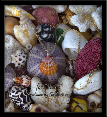 """Custom for """"Paula"""" in Spain, Sunrise Shell with Pink Coral and White Pearl on Gold Necklace"""