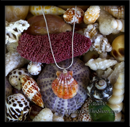 Custom for Pauline Pink Red Hawaiian Sunrise Shell Silver Necklace