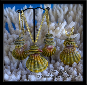 "Custom for ""Rosa"" Bloodmoon Moonrise Sunrise Shells Earrings & 2 Necklaces 18K Gold"