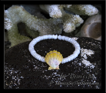 Custom Hawaiian Sunrise Shell & North Shore Puka Shells Bangle Bracelet