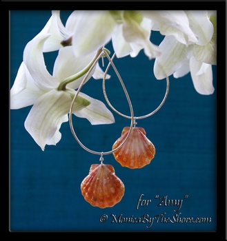 Custom Sunrise Shell Sterling Silver Teardrop Hoop Earrings for Amy