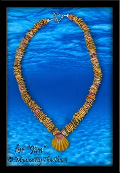 "Custom Traditional Sunrise Shell Chip Lei 24"" for ""Jim"""