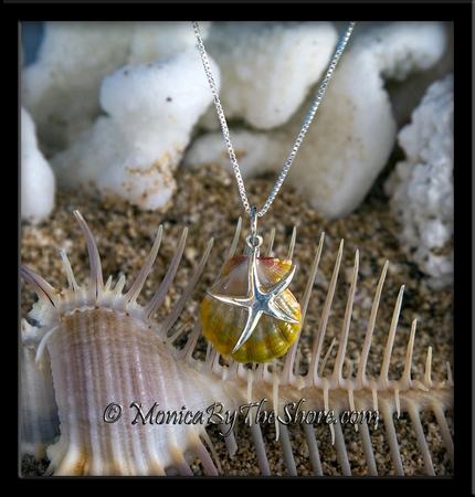 """Double """"Moonrise"""" Sunrise Shell and Sterling Silver Starfish Charm Pendant Necklace"""